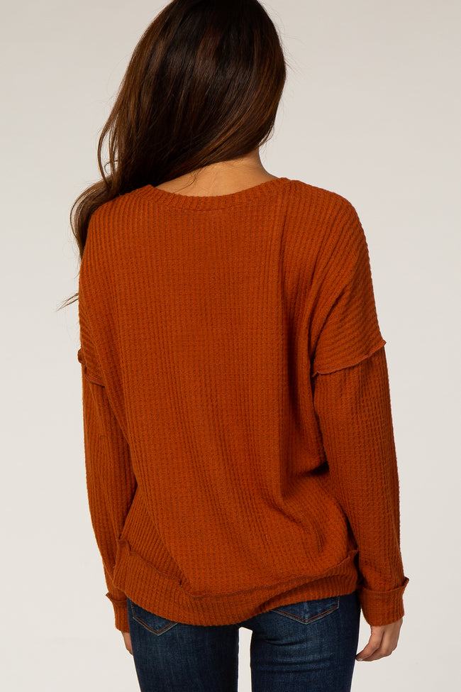 Rust Thermal V-Neck Top