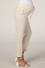 Beige Cropped Maternity Dress Trouser