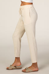 Beige Cropped Dress Trouser