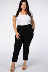 PinkBlush Black Cropped Plus Dress Trouser