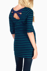 Navy Blue Green Striped Open Back Top