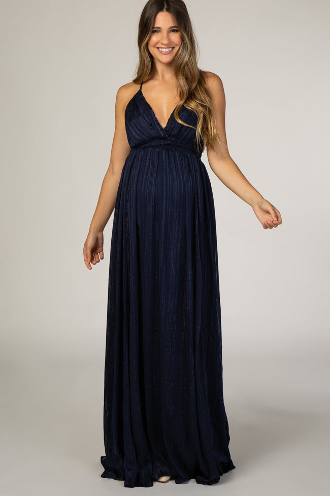 Navy Sparkle Criss Cross Back Maternity Gown