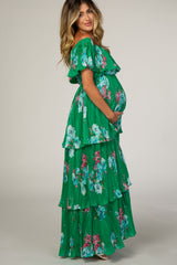 Green Floral Pleated Ruffle Tiered Maternity Maxi Dress