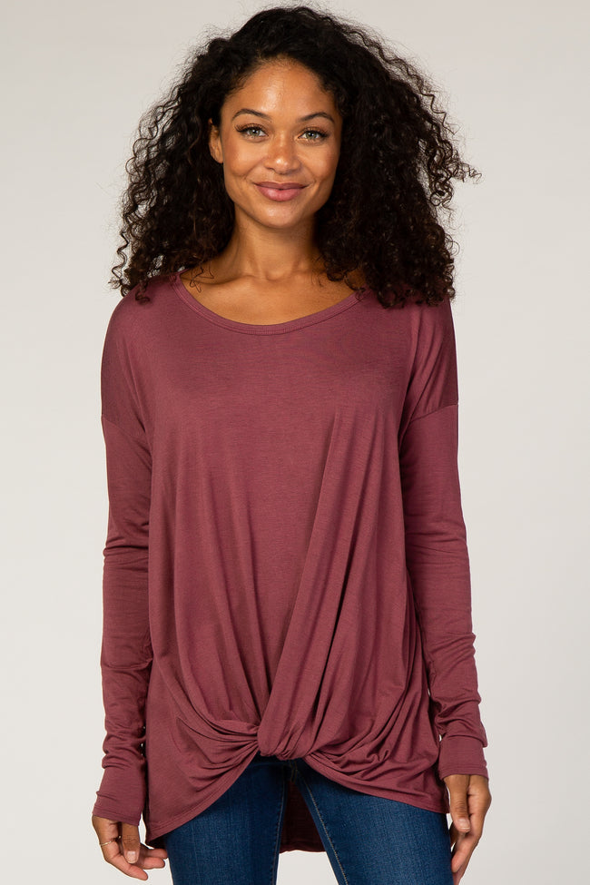 Dusty Mauve Knot Maternity Top