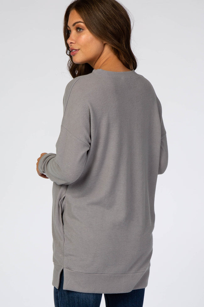 Grey Fleece Maternity Tunic