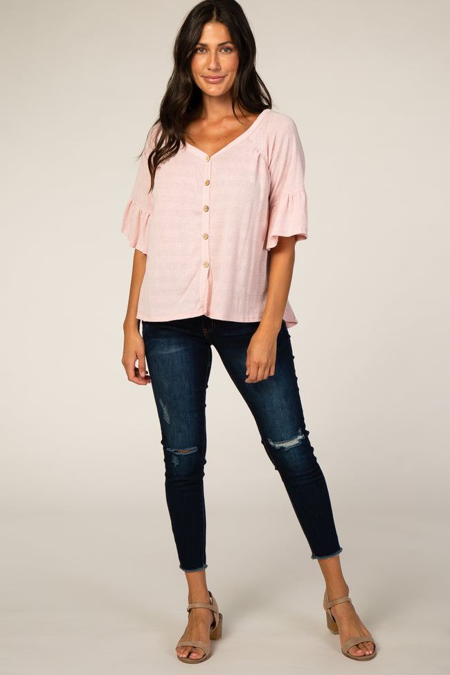Pink Button Accent Blouse
