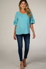 Teal Crochet Sleeve Maternity Top