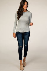Heather Grey Ribbed Fitted Top