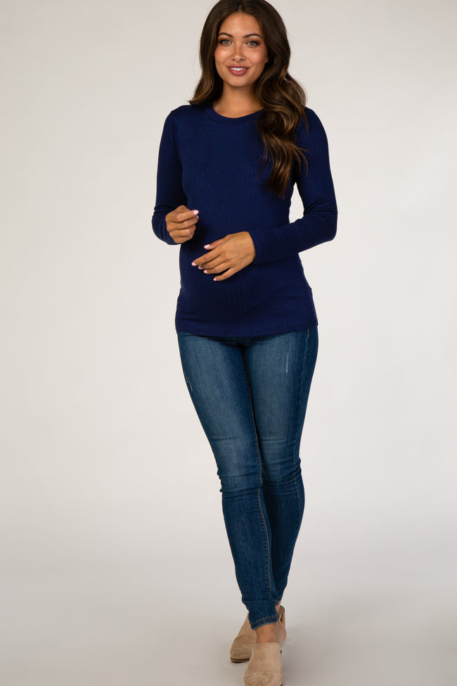 Navy Ribbed Fitted Maternity Top