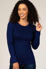Navy Ribbed Fitted Top