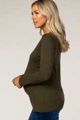 Olive Fitted Long Sleeve Maternity Tee