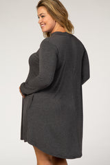 Charcoal Mock Neck Maternity Plus Dress