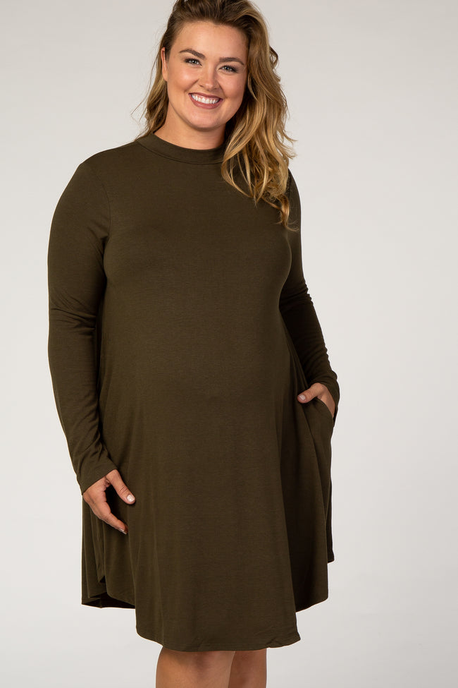 Olive Mock Neck Maternity Plus Dress