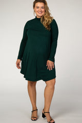 Hunter Green Mock Neck Maternity Plus Dress