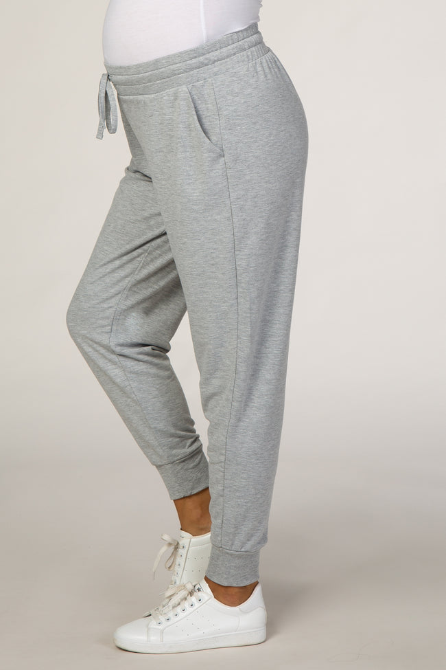 Heather Grey Maternity Joggers
