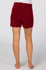 Burgundy Chenille Cable Knit Maternity Lounge Shorts