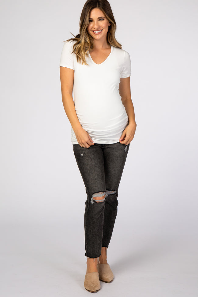 Black Distressed Crop Maternity Jeans