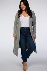 Heather Grey Ribbed Plus Duster Cardigan