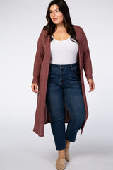 Mauve Ribbed Plus Duster Cardigan