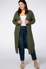 Olive Ribbed Plus Maternity Duster Cardigan