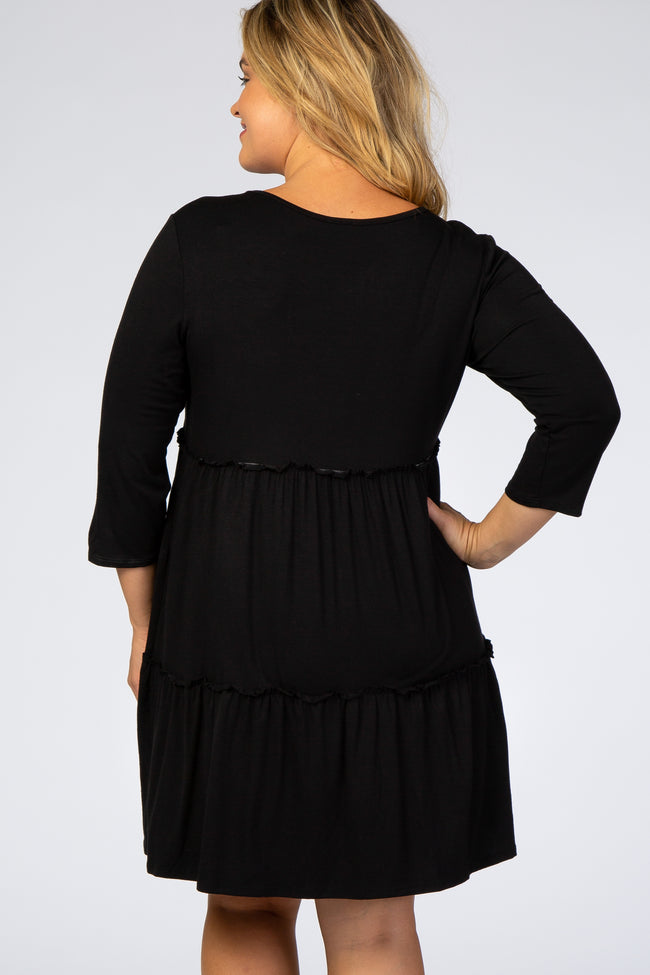 Black Ruffle Tiered Maternity Plus Dress