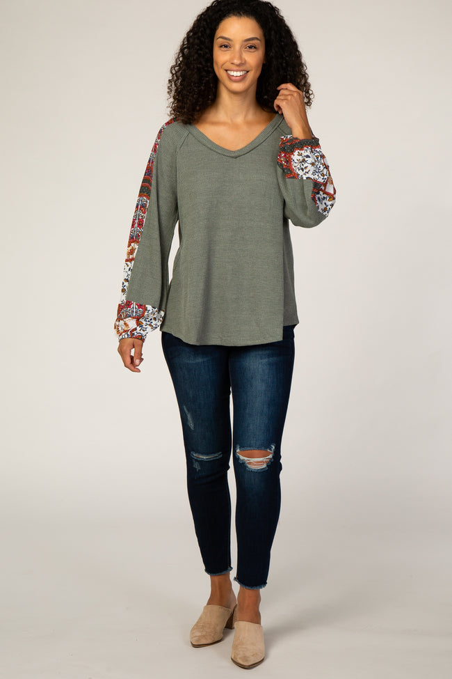 Olive Thermal Printed Colorblock Blouse