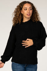 Black Solid Mock Neck Maternity Sweater