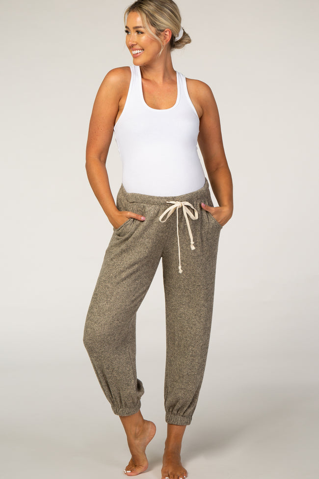 Beige Ribbed Maternity Joggers