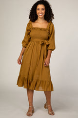 Camel Ruffle Accent Midi Dress