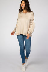 Beige Animal Print Colorblock Maternity Top