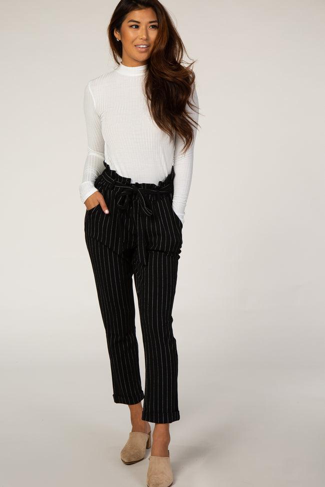 Black Pinstripe Paper Bag Waist Maternity Pants