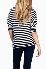 Black White Striped Dolman Maternity Top
