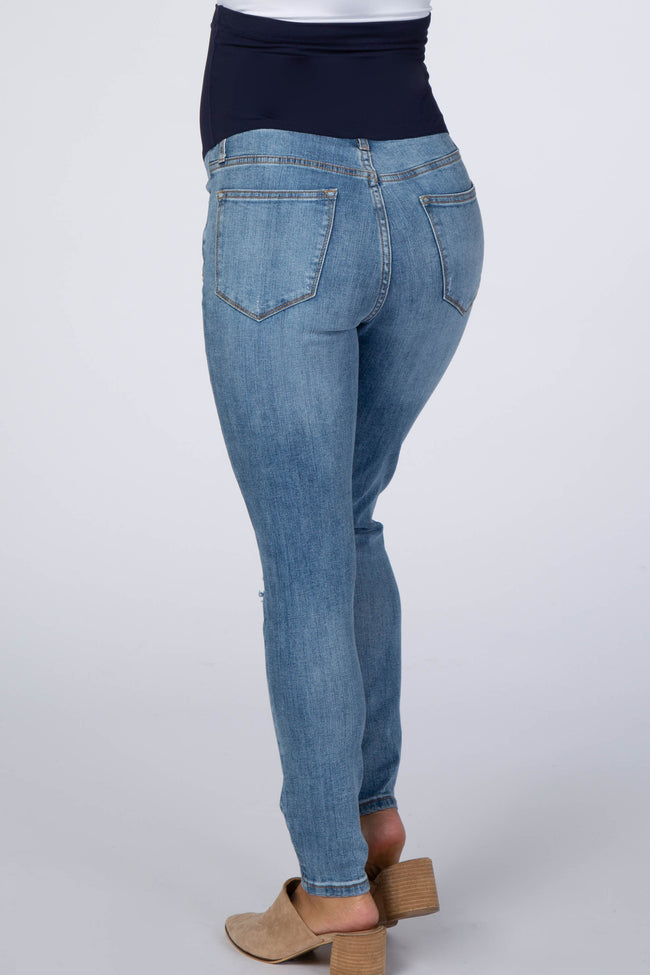 Blue Distressed Maternity Skinny Jeans