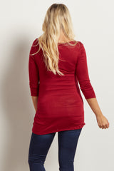 Burgundy 3/4 Sleeve Maternity Shirt