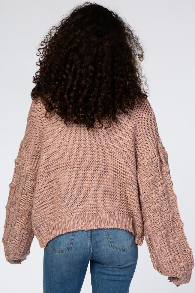 Pink Chunky Knit Textured Bubble Sleeve Cardigan