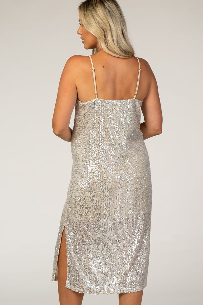 Silver Sequin Maternity Dress