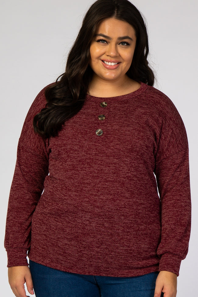 Burgundy Button Front Long Sleeve Maternity Plus Top