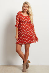 Orange Chevron Print Maternity Dress