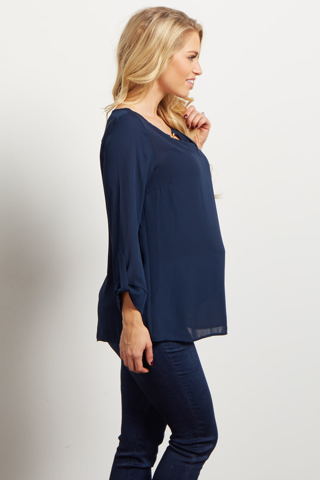 Navy Flowy Maternity Blouse