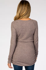 Mauve Ribbed Knit Ruched Maternity Top