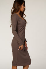 Waverleigh Mocha Ribbed Knit Midi Dress