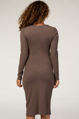 Waverleigh Mocha Ribbed Knit Midi Maternity Dress