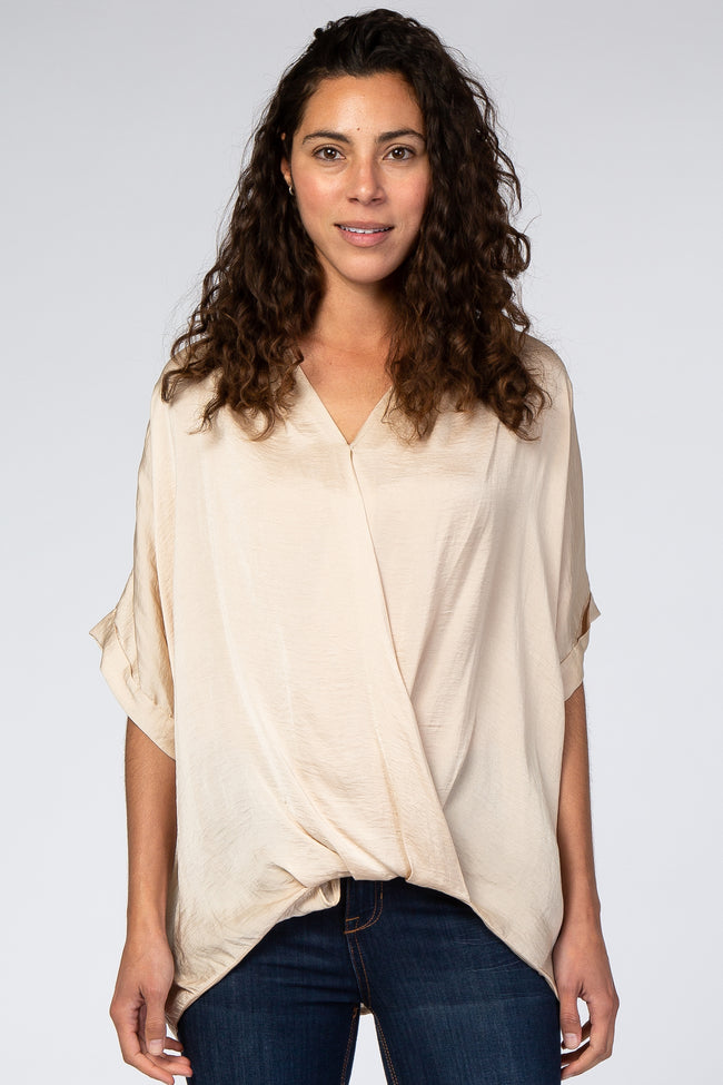 Beige Wrap Front Short Sleeve Satin Blouse