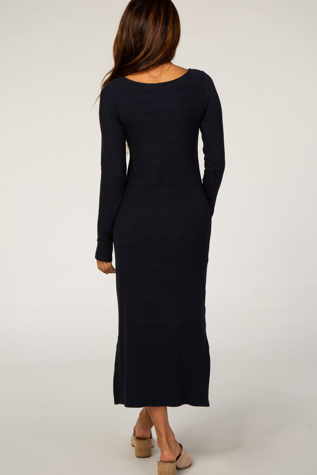 Black Ribbed Knit Long Sleeve Side Slit Midi Dress