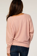 Pink Soft Brushed Waffle Knit Long Sleeve Top