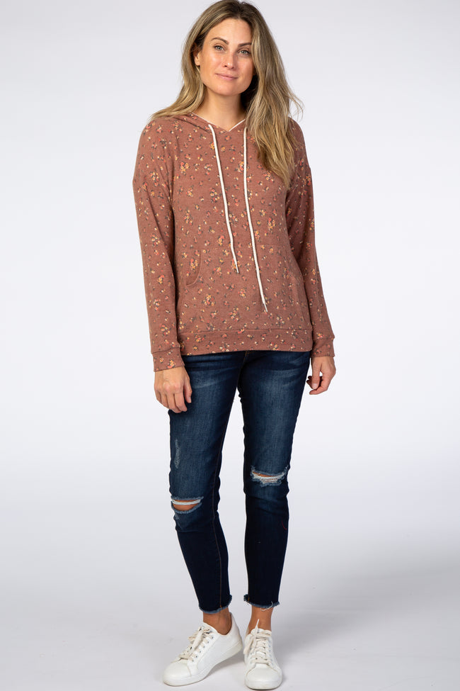 Rust Floral Soft Brushed Hooded Sweatshirt