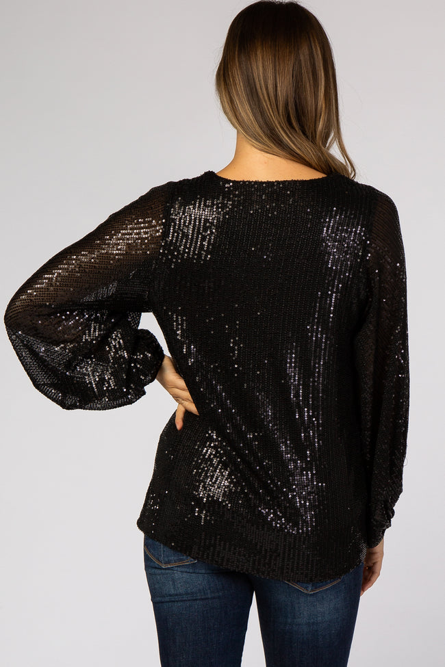 Black Sequin V-Neck Maternity Blouse