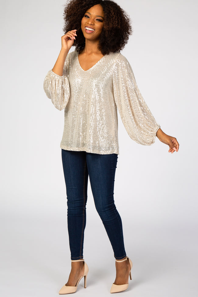 Taupe Sequin V-Neck Blouse