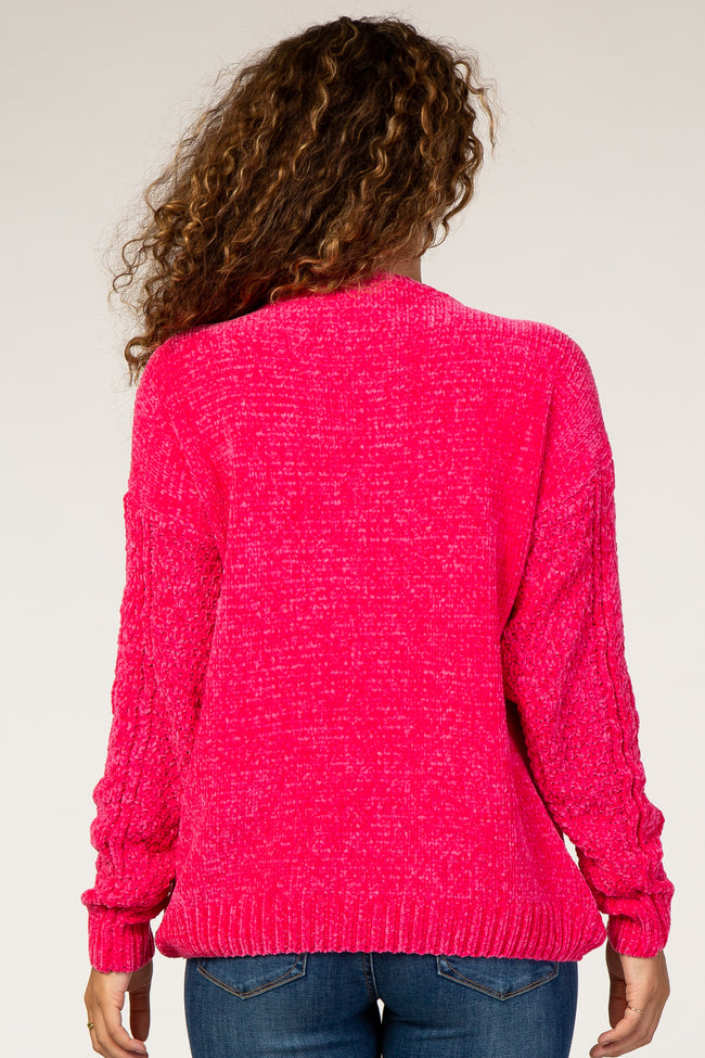 Fuchsia Soft Chenille Cable Knit Maternity Sweater