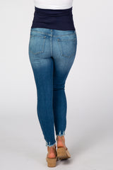 Blue Distressed Hem Skinny Crop Maternity Jeans